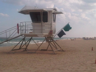 Lifeguard Station with warning flags